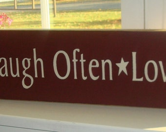 Live well, Laugh Often, Love Much primitive red sign. Hand painted sign .wood sign. Barn red sign board. Wall decor.