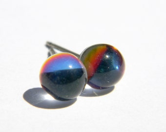 Crystal Ball Earrings  6mm Czech Glass Round Stones on Titanium Post Earring  Hypoallergenic Nickel Free Jewelry