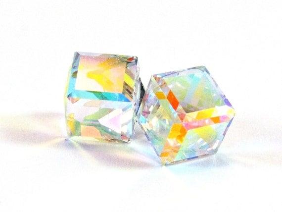 Aurora Borealis Cube Earrings  Swarovski Crystal Titanium Post Earring  Hypoallergenic  Sensitive Jewelry  Art Deco Modern