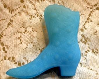Lovely Fenton, blue custard glass boot or high top shoe; daisy button pattern
