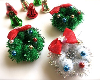 SALE-Mini Sparkly Holiday Wreaths-Lot of Two 1.25 Inch-Red Velvet Ribbon w/ Shiny Star & Bulbs-Retro Holiday Ornament-Christmas Putz Village