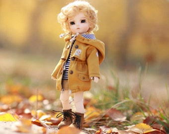 Miss yo Winter Coat with Hat for YoSD 1/6 BJD - doll outfit / cloth - Yellow