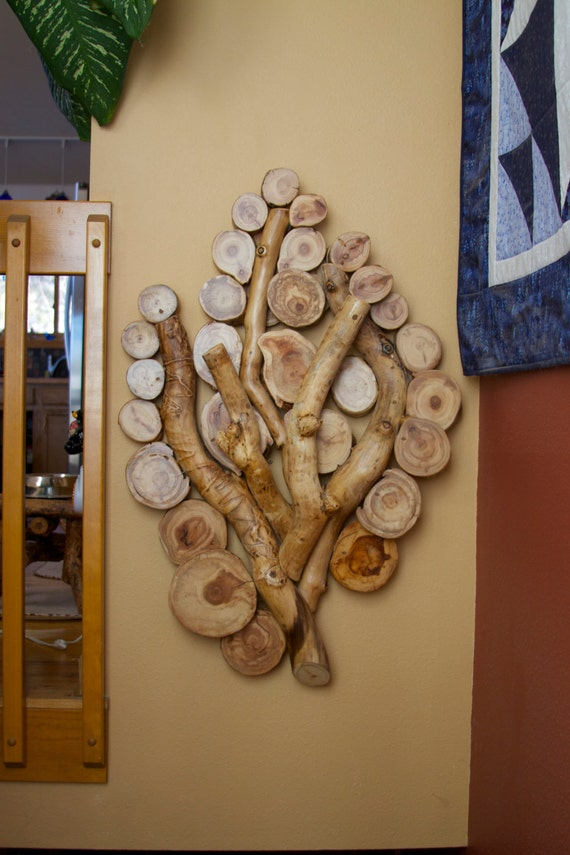 Rustic Tree Wall Decor : Items similar to branch wall sculpture modern rustic