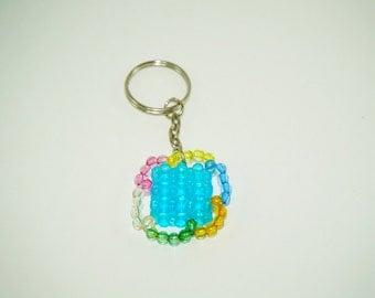 Beaded Keychain, Teal Keychain, Aqua Blue Keychain, Beaded Unique Keychain, Colorful Keychain, Chinese Lantern Keychain, Bead Keychain, Teal