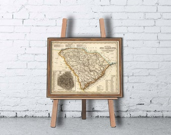 Map of South Carolina - Vintage map reproduction - Giclee print