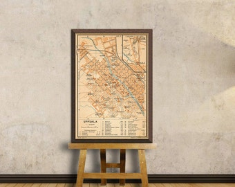 Uppsala map  - Old mao of Uppsala  - Fine giclee reproduction  - 14.5 x 21""