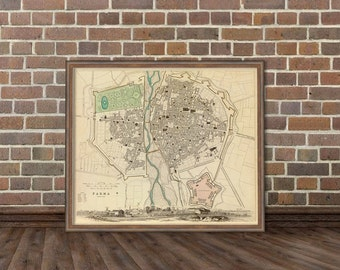 Parma vintage map print - Antique Parma ( Italy ) city map  - Old map restored - giclee reproduction