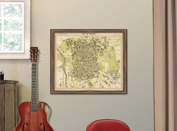 """Madrid map - Old map print - City map  fine reproduction - Historic map restored - 19 x 24 """""""