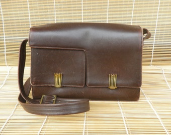 Vintage 1960's Lady's Brown Leather Small Size Hand Bag Purse