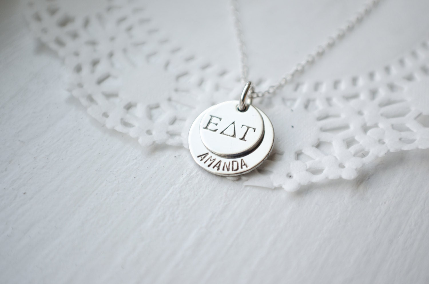 Sorority jewelry greek alphabet necklace nameplate disc for Sorority necklaces letters