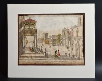"Antique ca 1780 ""Vue d'Optique"" Engraving of Neaple, Naples, Napoli, Italy by F. X. HABERMANN ""Vue du Place grande a Neaple vers Orient"""