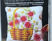 Vintage Pillow Kit - Spring Flower Basket - Quilting Pillow Kit - 1980 - Retro Cushion Kit - Craft Supply