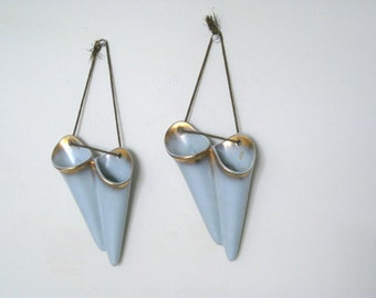Vintage Wall Pocket Planter Pair Pastel Blue with Gold Guilding - 1940's - Retro Hanging Bud Vases
