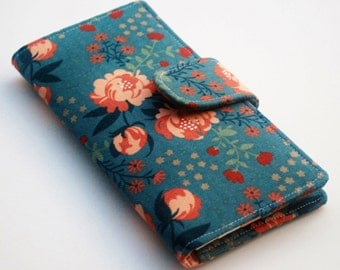 Organic Canvas Wallet, Womens Clutch, Coral and Dark Teal, Peony Flowers