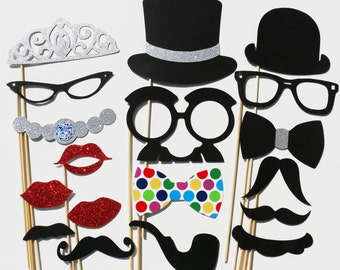 Photo Booth Props - Best Wedding Party GLITTER Photobooth Prop - 18 piece set Photo Props