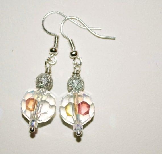 Bridesmaid Gift, Crystal Dangle Earrings, Silver Wedding Jewelry, Drop Earrings, Crystal Bridesmaid Earrings, Bridal Jewelry, Beaded Jewelry