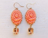 Coral Earrings/Peach Earrings/Carved Flower Earrings/Rustic Wedding Earrings/Bridesmaid Earrings/Peach Rhinestone Earrings/Mother's Day Gift