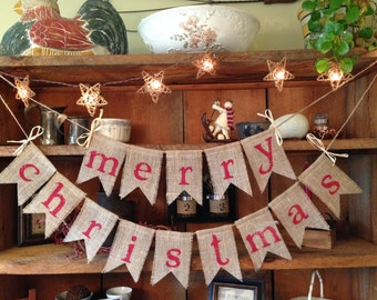 Burlap Merry Christmas Bunting in Red, Christmas Bunting, Holiday Bunting, Christmas Banner, Christmas Burlap Bunting, Rustic Christmas