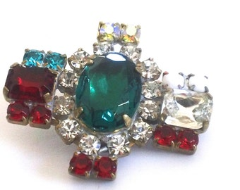 Vintage Rhinestone Emerald Glass Button  Beading DIY Crafting Necklace Pendant Sewing Jewelry Findings