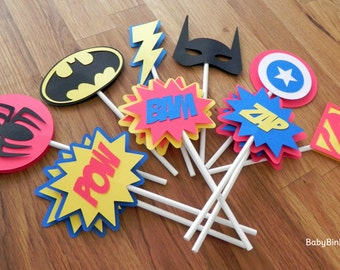 Die Cut Super Hero Cupcake Toppers - superhero batman captain america spiderman superman comic phrases birthday party decorations wedding