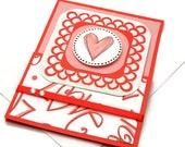 Romantic Valentine Card - Handmade Valentine's Day Card - Pink Heart