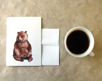 Critters and Cups: Brother Bear // Greeting Card - Forest Illustration
