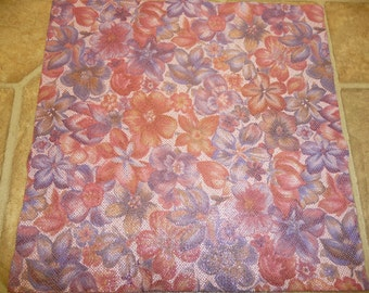 """Leather 12""""x12"""" Glistening SOFT PINK Multi Garden Flowers cowhide 3.5-3.75 oz/1.4-1.5 mm PeggySueAlso"""
