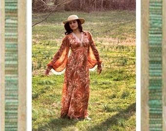 Yummy 60s Boho Hippie Dress w/ Butterfly Sleeves Breezy and Beautiful Colors w/ Lace Trim