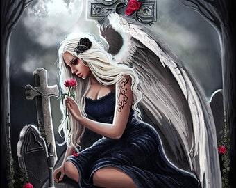 Angel of sorrow gothic dark fantasy artprint