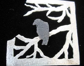 Blackbird on a branch brooch