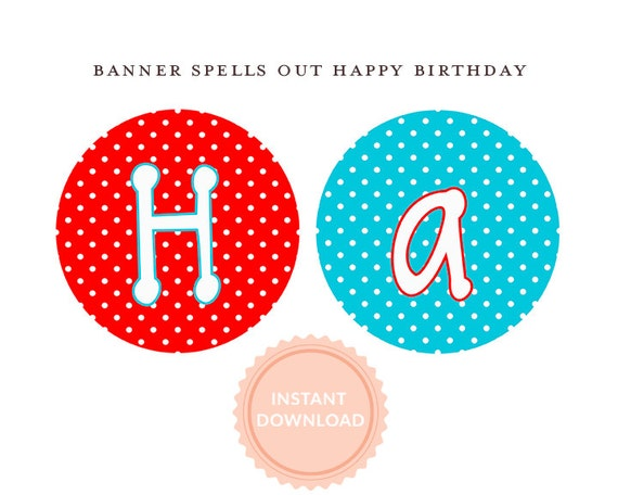 INSTANT DOWNLOAD, BOUNCE House Banner: Happy Birthday Banner-Printable-Red & Aqua Polka Dots