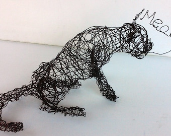 SAD MEOW Cat - Unique Wire Cat Sculpture