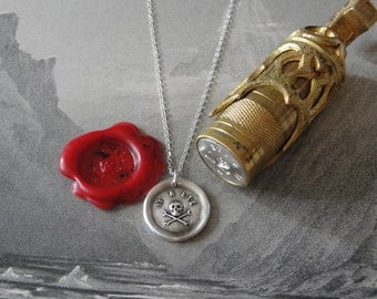 Skull Wax Seal Necklace - antique wax seal charm jewelry Memento Mori - It Hath Been - remember mortality by RQP Studio