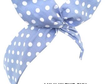 Light blue & white polka dot wire Rockabilly Pin Up Headband Hair Wrap