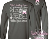 Personalized Long sleeve Tshirt with Small Elegant Front Monogram - Talk Southern To Me
