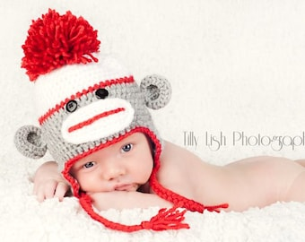 Crochet Baby Hat, Sock Monkey Hat, Toddler Sock Monkey Hat, Adult Sock Monkey Hat, Child Sock Monkey Hat
