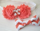 Sibling set Jack and Jill - Coral chevron shabby headband and bowtie bow tie for brother sisters ring bearer flower girl birthday wedding
