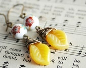 Porcelain White and Yellow Czech Glass Earrings Flowers Leaves Antiqued Brass Earrings Wire Wrapped Earrings Spring Garden