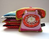 Pink and red telephone lavender bag