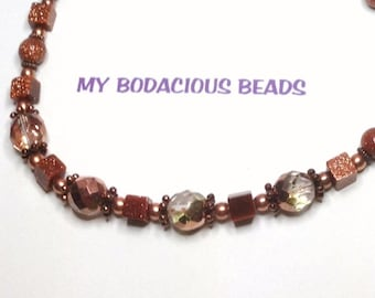 "Sparkly Handmade 20"" Copperish GOLDSTONE NECKLACE Faceted Crystal Copper Accents and Closure"