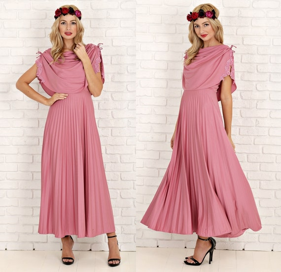 aa8400e25408 Vintage 70s Dusty Rose Maxi Dress Draped Crochet By