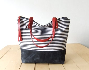 Zippered Waterproof Nautical Striped Tote Bag - Waxed Canvas Base in Black - Leather Handles in Red - Red Lining - Shoulder Bag