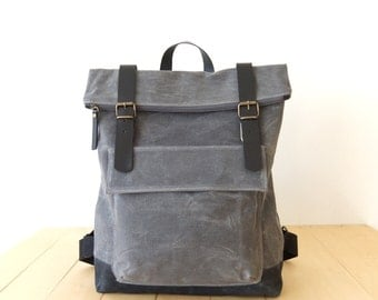 "Waxed Canvas Backpack in Gray - Fathers Day Gift - Zippered Foldover Closure - Leather Accessories - 15"" Laptop - Waterproof Bag"