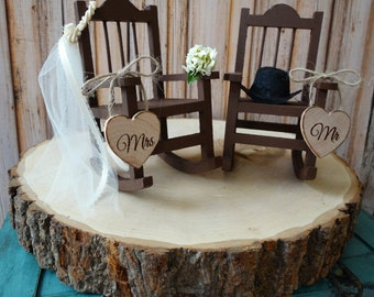 Country Wedding Rocking Chair Barn Rustic Cake Topper Bride