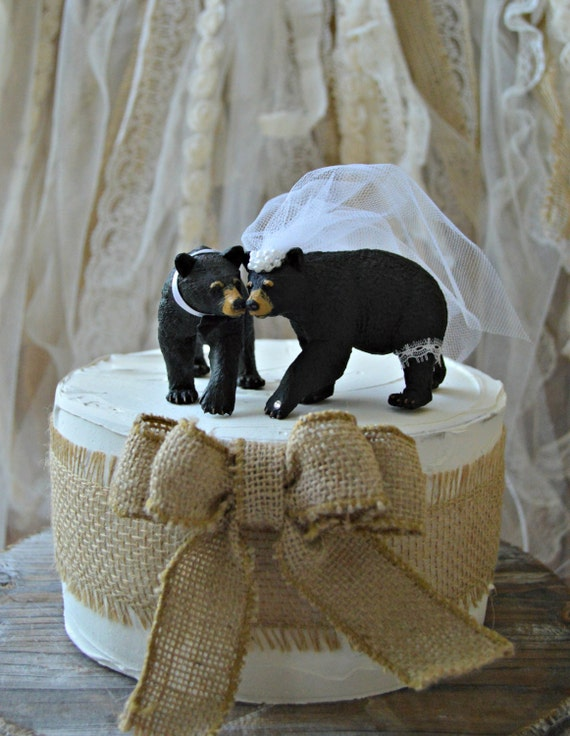 Black Bear Wedding Cake Topper Brown Grizzly