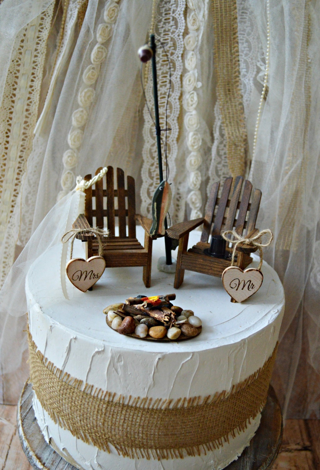 Hunting Camping Fishing Outdoors Wedding Cake Topper Fishing