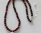 Burgundy red Garnet necklace with Sterling silver accents and Hill tribe Hammered heart for ladies
