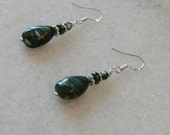 Seraphinite tear drop earrings with sterling accents