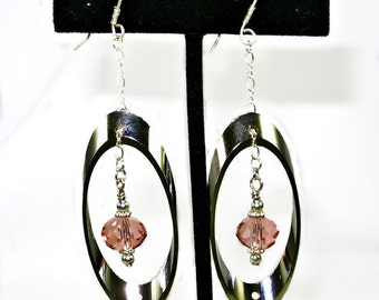 Contemporary Stainless Steel & Peach Swarovski Dangle Earrings, handmade Sterling ear wires, Bold, Trendy, under 25 gift 4 women