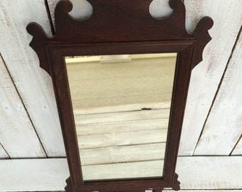 Wall Mirror Chippendale Style Mirror Dark Wood Frame Small Wall Mirror